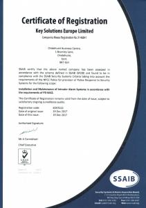 KSEL SSAIB Certificate - Intruder Alarms